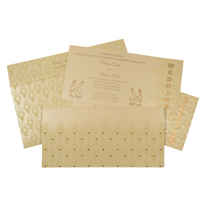 BEIGE GOLD SHIMMERY PEACOCK THEMED - SCREEN PRINTED WEDDING INVITATION : W-8256B - 123WeddingCards