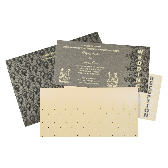 Ivory Shimmery Peacock Themed - Screen Printed Wedding Invitation : W-8256D - 123WeddingCards
