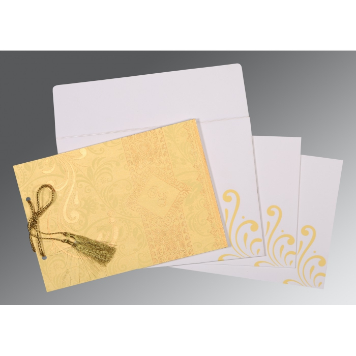 MUSTARD YELLOW SHIMMERY SCREEN PRINTED WEDDING CARD : D-8223D - 123WeddingCards