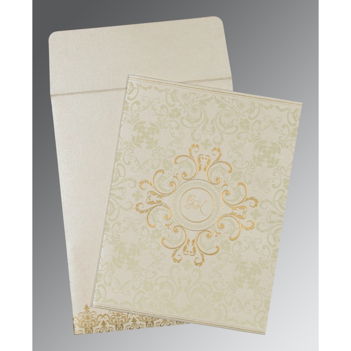 OFF-WHITE SHIMMERY SCREEN PRINTED WEDDING CARD : D-8244B - 123WeddingCards