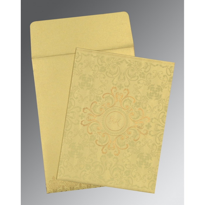 STRAW YELLOW SHIMMERY SCREEN PRINTED WEDDING CARD : D-8244J - 123WeddingCards