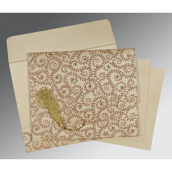 Ivory Shimmery Screen Printed Wedding Invitation : G-8217O - 123WeddingCards