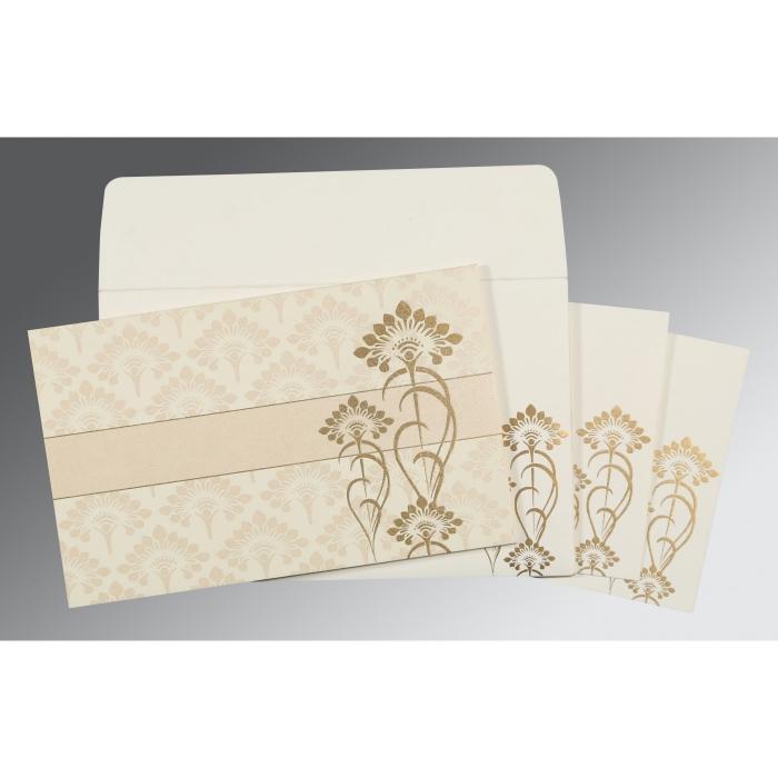 Ivory Shimmery Screen Printed Wedding Card : RU-8239K - 123WeddingCards