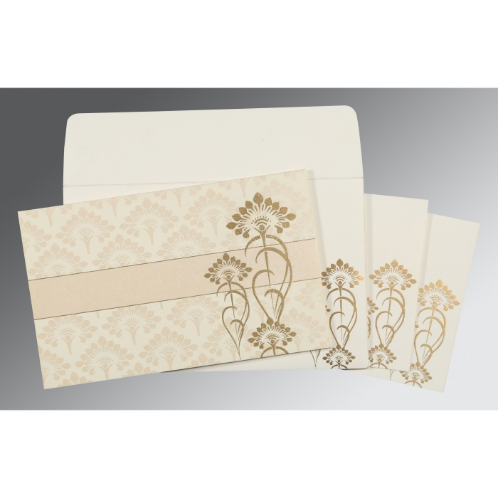 Ivory Shimmery Screen Printed Wedding Invitations : S-8239K - 123WeddingCards