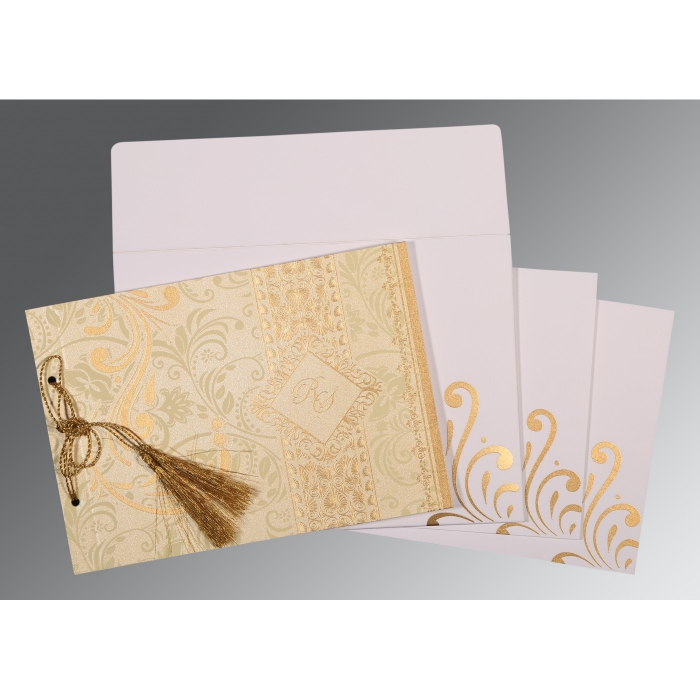 Ivory Shimmery Screen Printed Wedding Card : W-8223L - 123WeddingCards