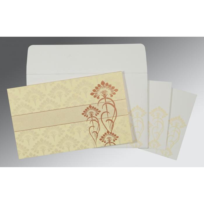 CREAM SHIMMERY SCREEN PRINTED WEDDING CARD : W-8239I - 123WeddingCards