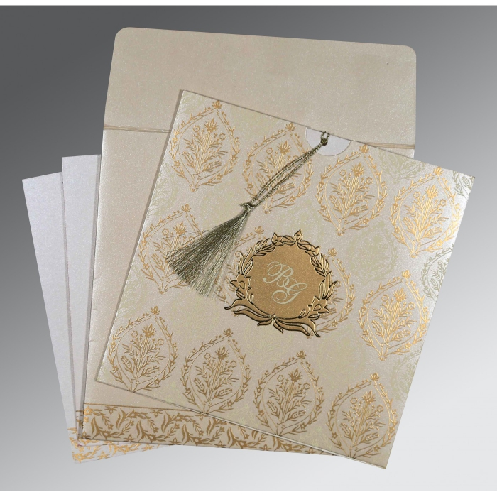Ivory Shimmery Unique Themed - Foil Stamped Wedding Card : D-8249B - 123WeddingCards