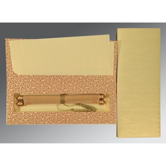Ivory Velvet Wedding Card : SC-5009D - 123WeddingCards