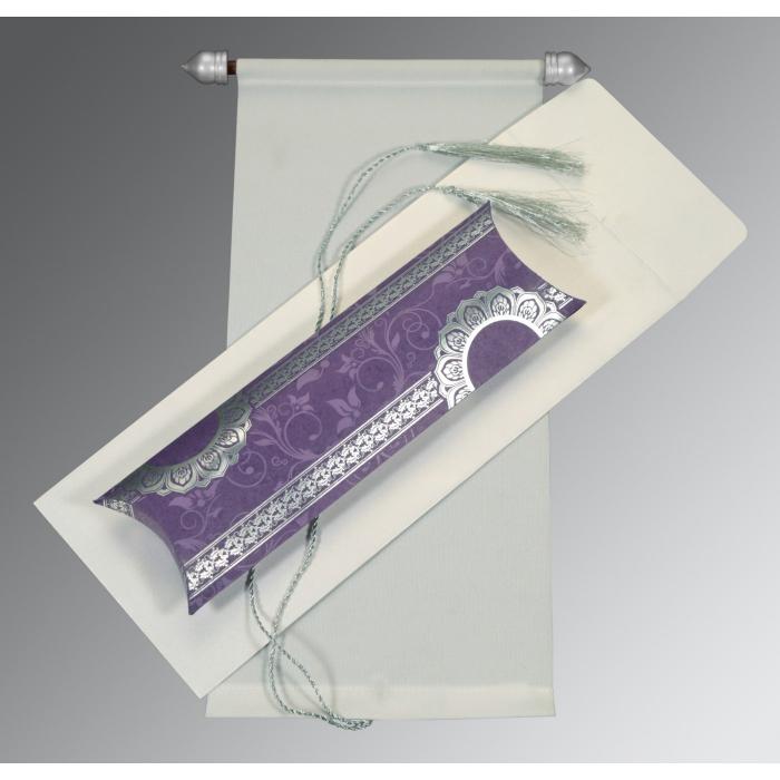 Ivory Velvet Wedding Card : SC-5010C - 123WeddingCards