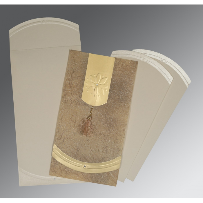 SAND SHIMMERY EMBOSSED WEDDING INVITATION : C-1385 - 123WeddingCards