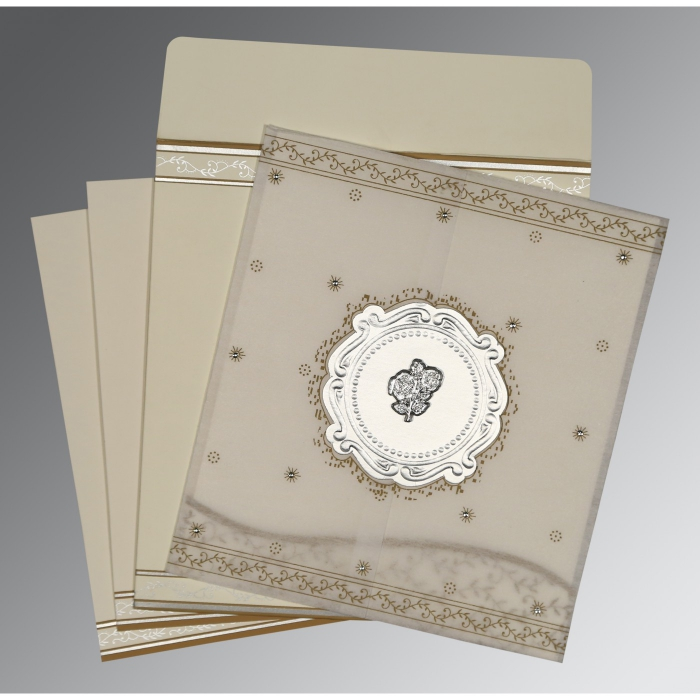 Ivory Wooly Embossed Wedding Invitation : C-8202O - 123WeddingCards