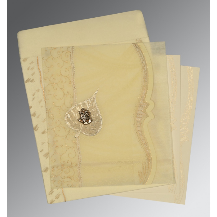 BEIGE SHIMMERY EMBOSSED WEDDING CARD : C-8210C - 123WeddingCards