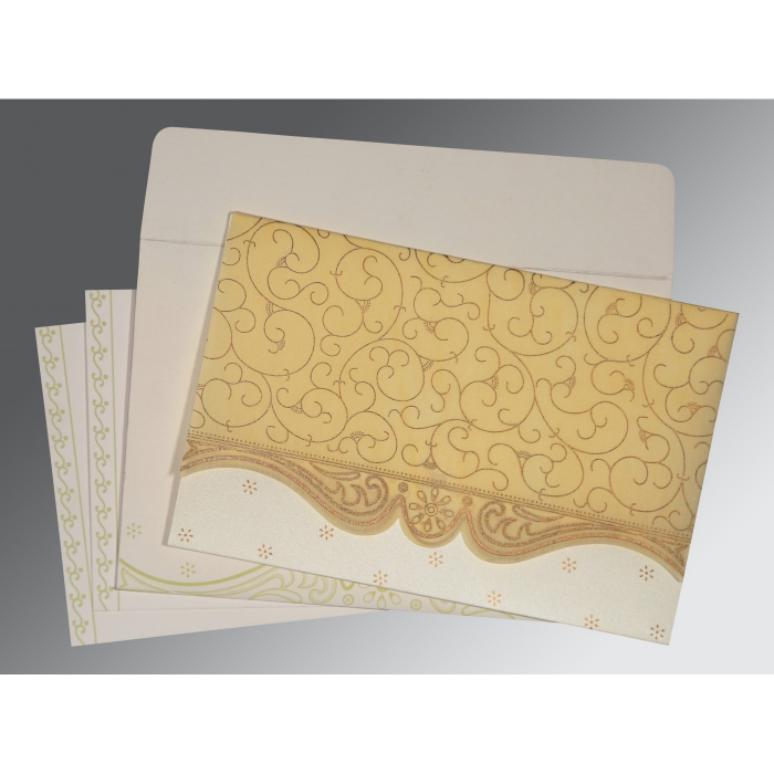 MUSTARD YELLOW MATTE EMBOSSED WEDDING INVITATION : C-8221K - 123WeddingCards