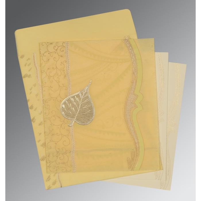 MUSTARD YELLOW SHIMMERY EMBOSSED WEDDING CARD : D-8210G - 123WeddingCards