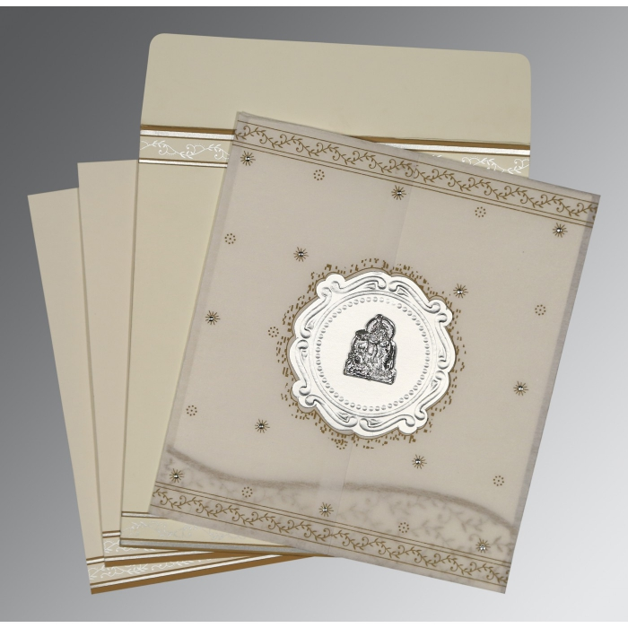Ivory Wooly Embossed Wedding Invitation : G-8202O - 123WeddingCards