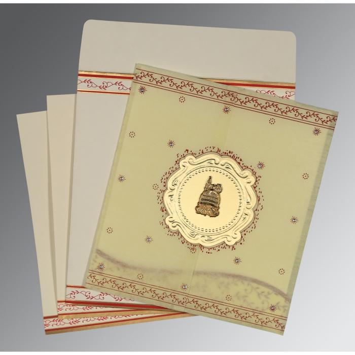 Ivory Wooly Embossed Wedding Invitation : I-8202E - 123WeddingCards