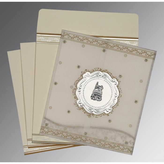 Ivory Wooly Embossed Wedding Invitation : I-8202O - 123WeddingCards
