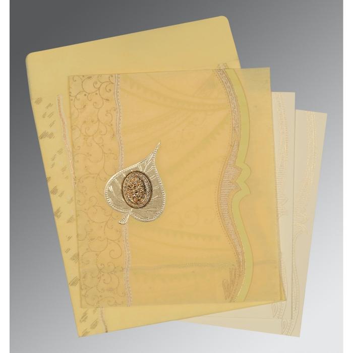 Ivory Wooly Embossed Wedding Card : I-8210G - 123WeddingCards