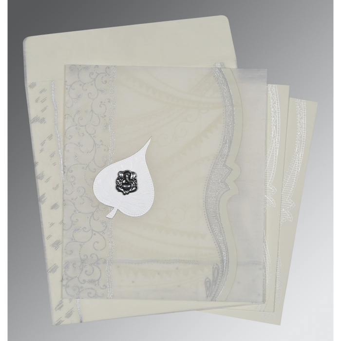 Ivory Wooly Embossed Wedding Invitations : IN-8210J - 123WeddingCards