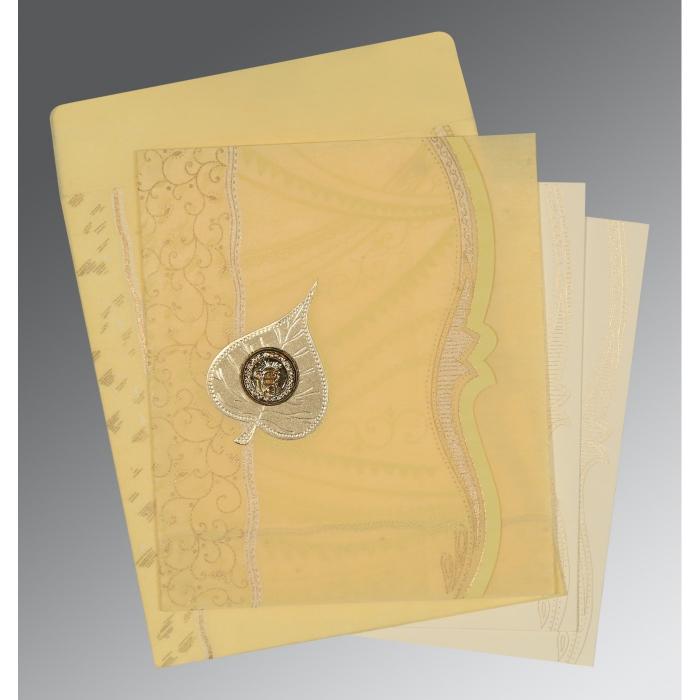 Ivory Wooly Embossed Wedding Card : RU-8210G - 123WeddingCards