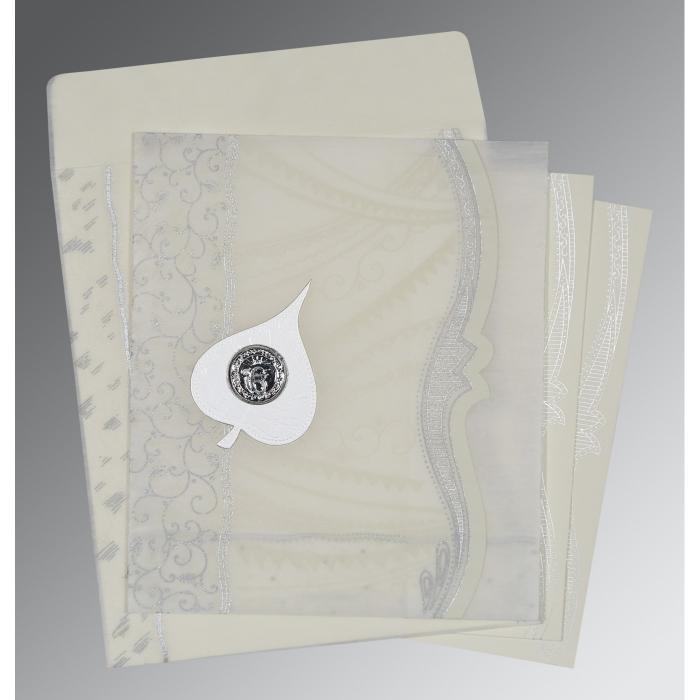 Ivory Wooly Embossed Wedding Card : RU-8210J - 123WeddingCards
