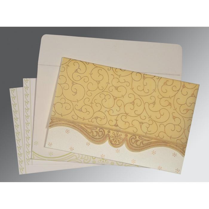 Ivory Wooly Embossed Wedding Invitations : RU-8221K - 123WeddingCards