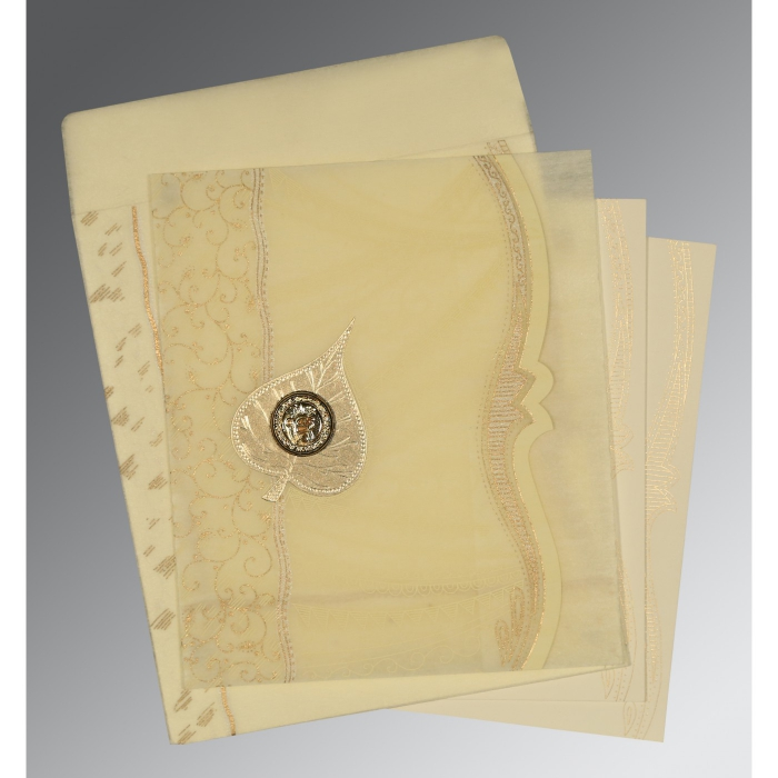 Ivory Wooly Embossed Wedding Card : S-8210C - 123WeddingCards