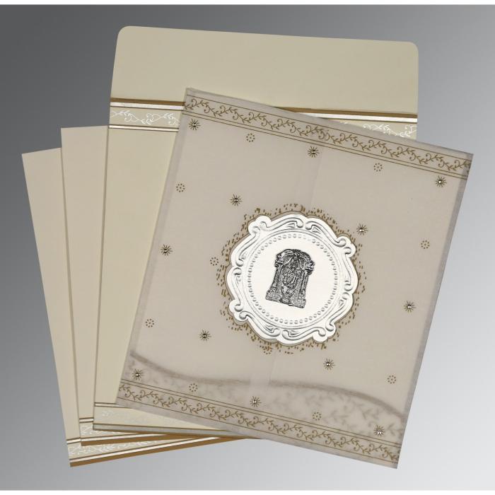 Ivory Wooly Embossed Wedding Invitation : SO-8202O - 123WeddingCards