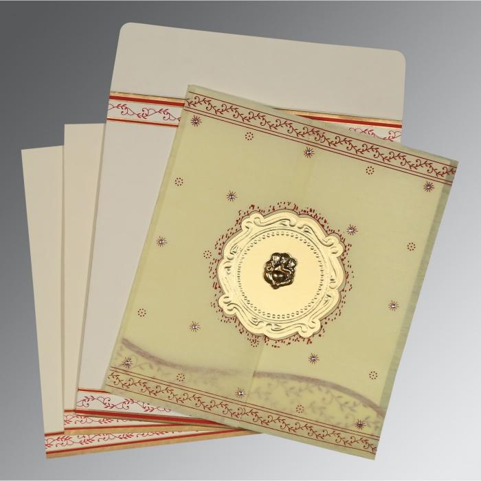 Ivory Wooly Embossed Wedding Invitation : W-8202E - 123WeddingCards