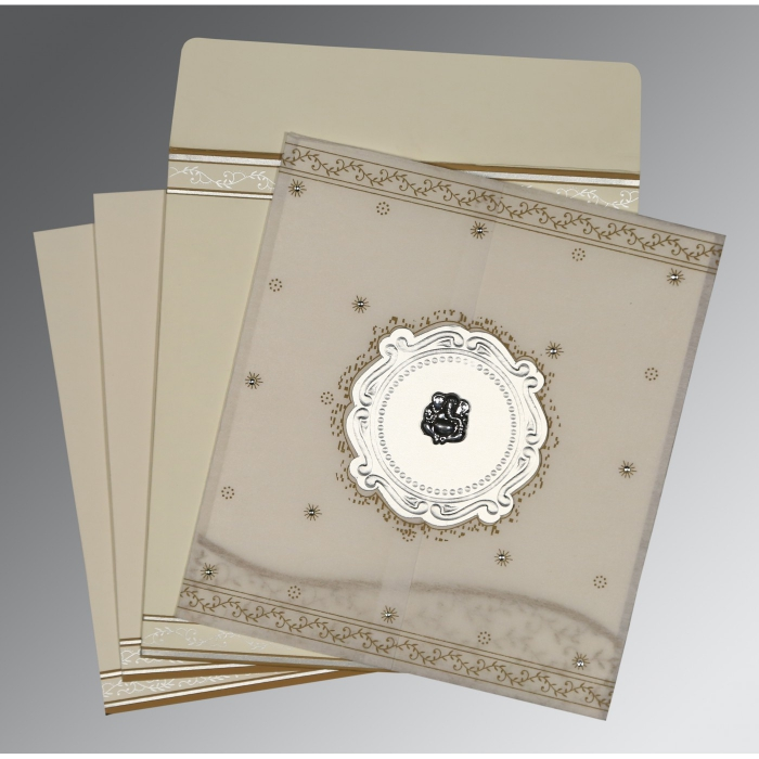 Ivory Wooly Embossed Wedding Invitations : W-8202O - 123WeddingCards