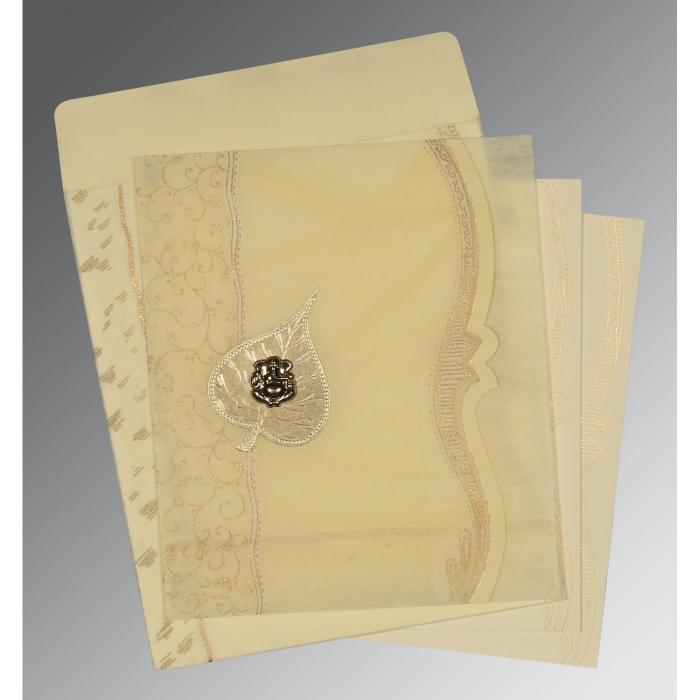 Ivory Wooly Embossed Wedding Card : W-8210C - 123WeddingCards