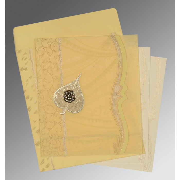 MUSTARD YELLOW SHIMMERY EMBOSSED WEDDING CARD : W-8210G - 123WeddingCards