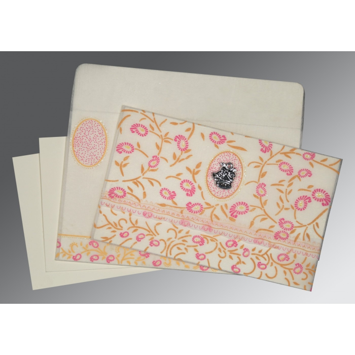 OFF-WHITE WOOLY FLORAL THEMED - GLITTER WEDDING CARD : C-8206F - 123WeddingCards