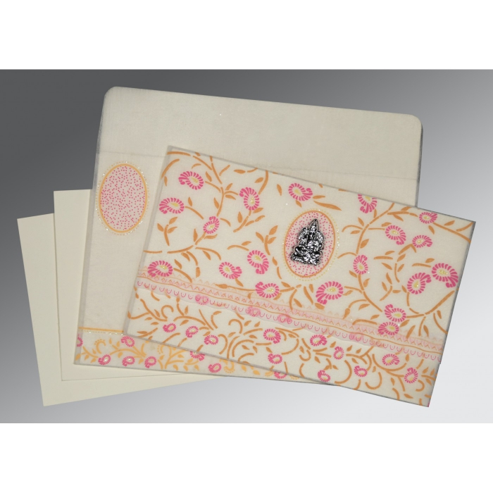 OFF-WHITE WOOLY FLORAL THEMED - GLITTER WEDDING CARD : IN-8206F - 123WeddingCards