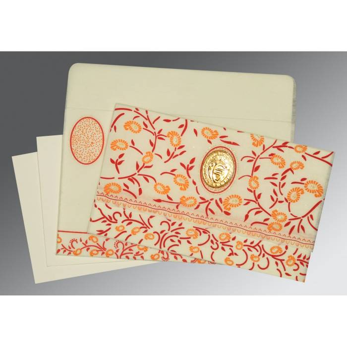 Ivory Wooly Floral Themed - Glitter Wedding Card : S-8206C - 123WeddingCards