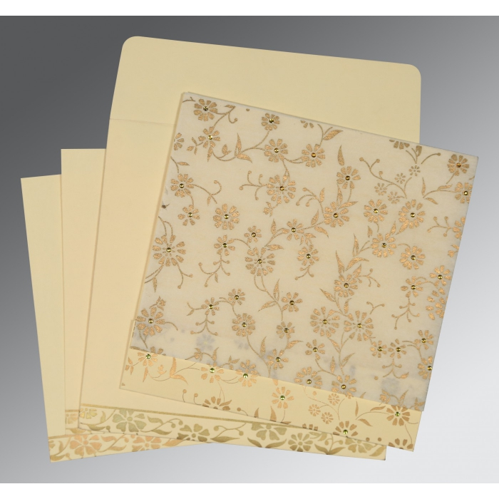 Ivory Wooly Floral Themed - Screen Printed Wedding Card : D-8222I - 123WeddingCards