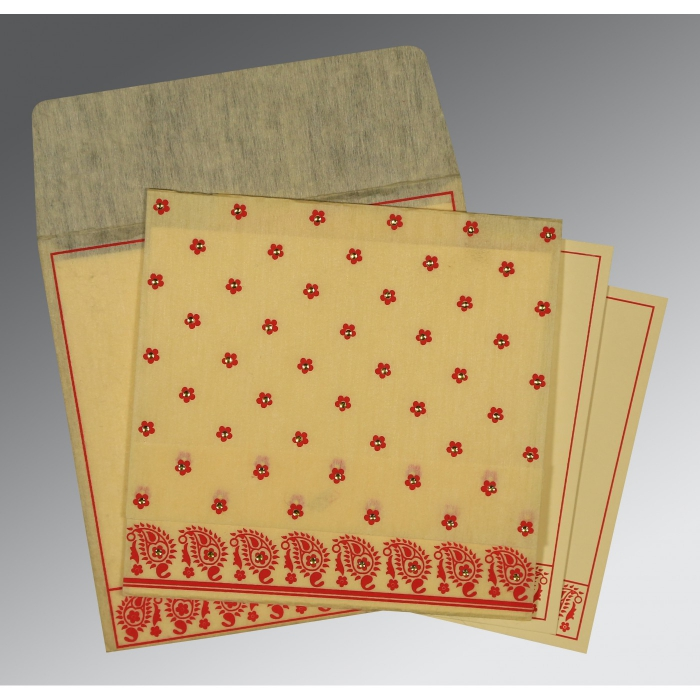 Ivory Wooly Floral Themed - Screen Printed Wedding Card : G-8218B - 123WeddingCards