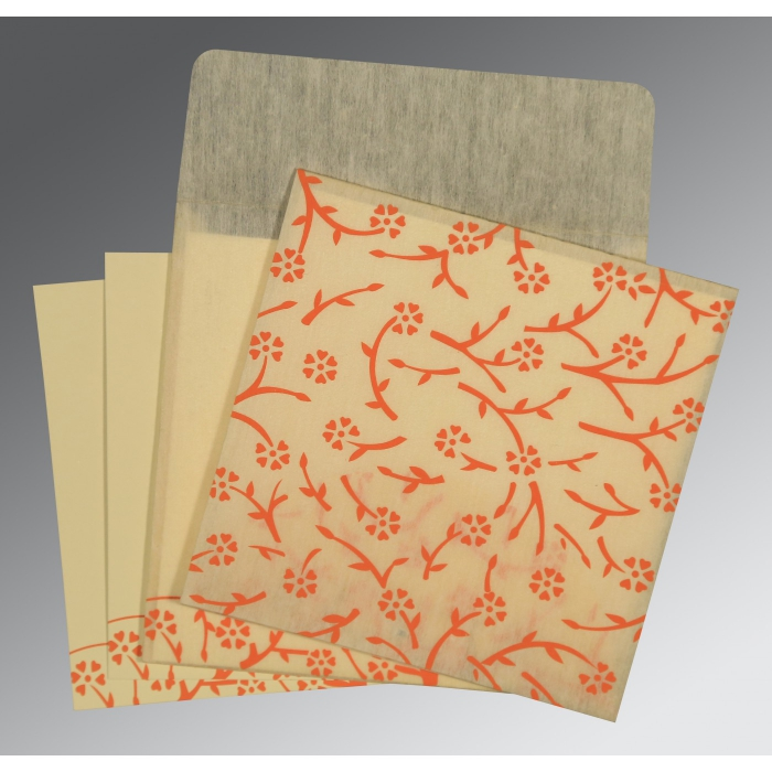 Ivory Wooly Floral Themed - Screen Printed Wedding Invitations : IN-8216C - 123WeddingCards