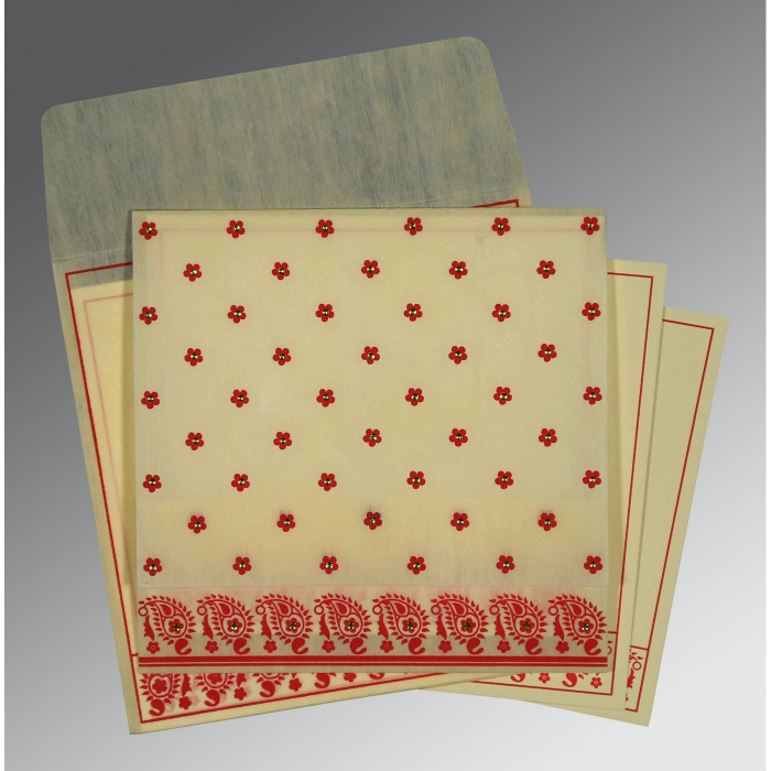 Ivory Wooly Floral Themed - Screen Printed Wedding Card : IN-8218F - 123WeddingCards