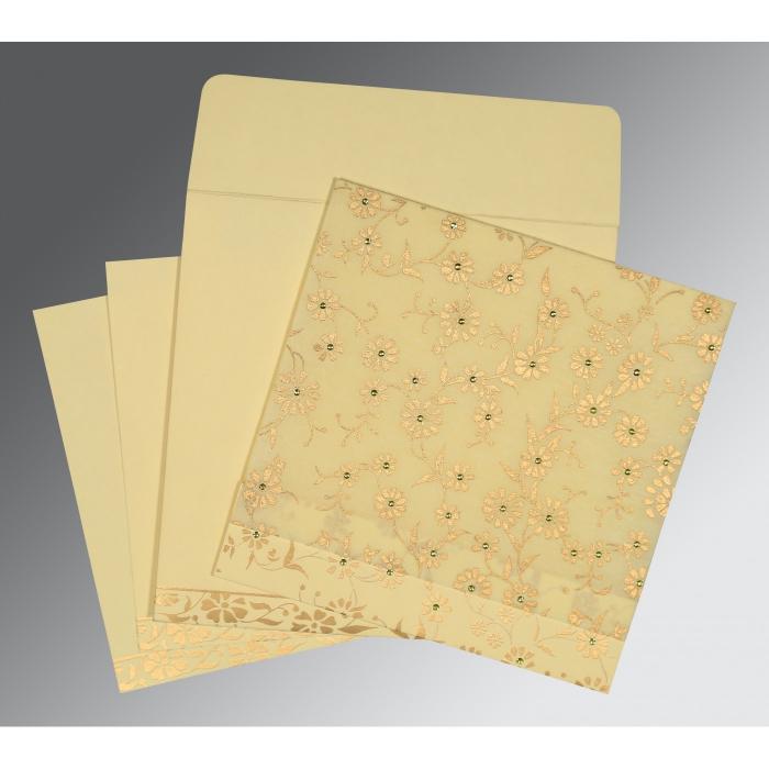 Ivory Wooly Floral Themed - Screen Printed Wedding Card : RU-8222F - 123WeddingCards