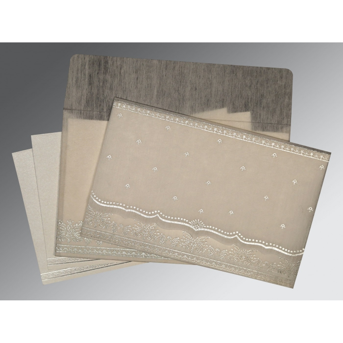 Ivory Wooly Foil Stamped Wedding Invitation : G-8241A - 123WeddingCards