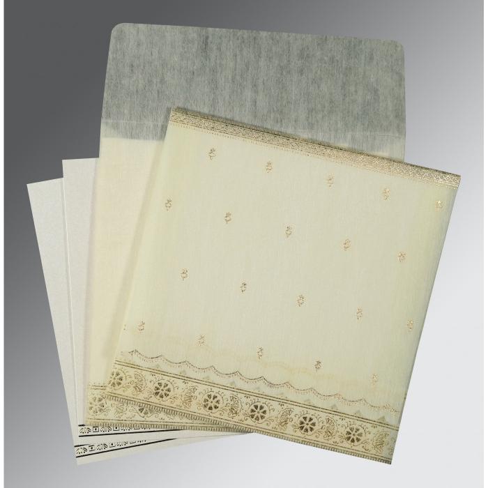 Ivory Wooly Foil Stamped Wedding Card : I-8242M - 123WeddingCards