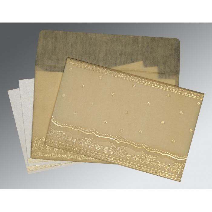 BEIGE WOOLY FOIL STAMPED WEDDING INVITATION : IN-8241F - 123WeddingCards