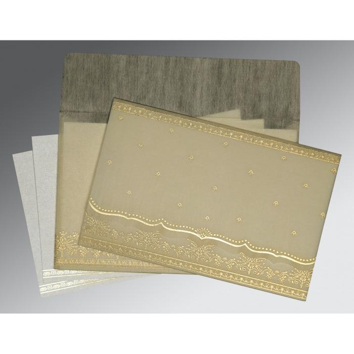 Ivory Wooly Foil Stamped Wedding Invitation : RU-8241B - 123WeddingCards