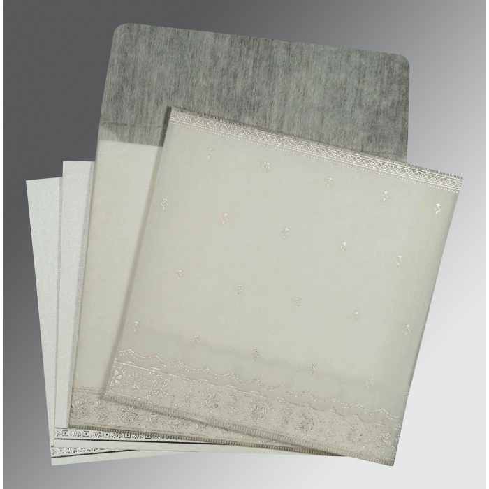 Ivory Wooly Foil Stamped Wedding Card : RU-8242P - 123WeddingCards