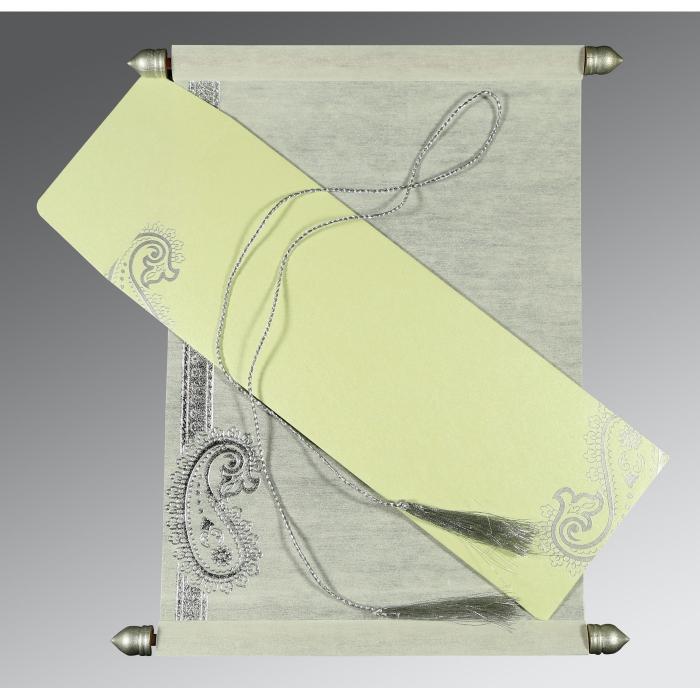 Ivory Wooly Foil Stamped Wedding Card : SC-5015G - 123WeddingCards