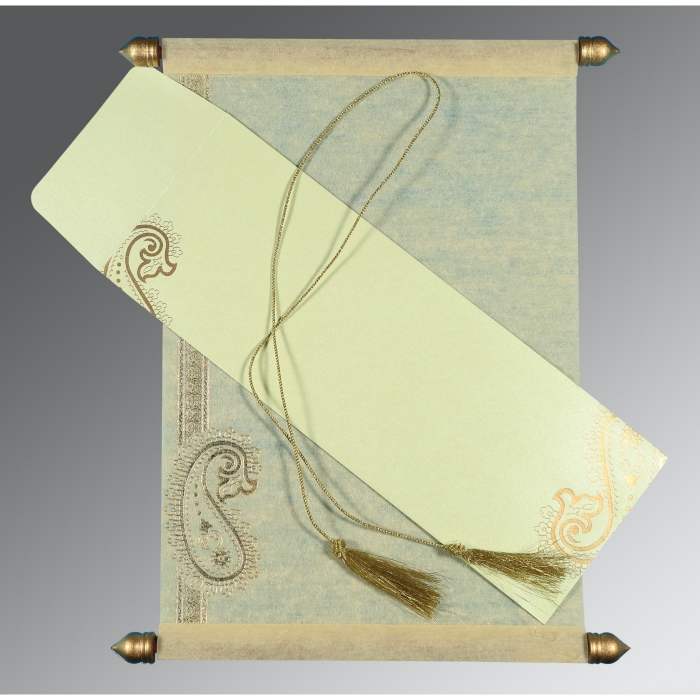 Ivory Wooly Foil Stamped Wedding Card : SC-5015N - 123WeddingCards