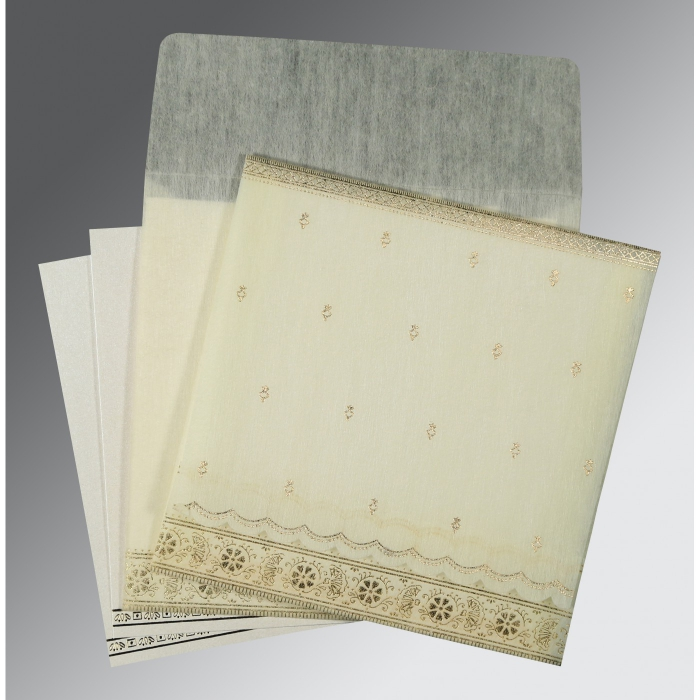 Ivory Wooly Foil Stamped Wedding Invitations : SO-8242M - 123WeddingCards