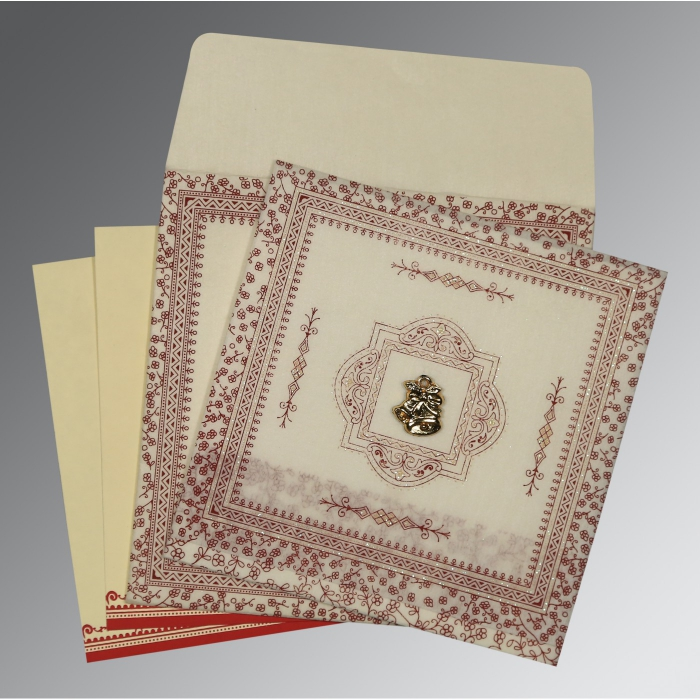 Ivory Wooly Glitter Wedding Card : C-8205E - 123WeddingCards