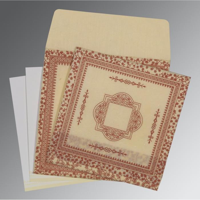 Ivory Wooly Glitter Wedding Card : D-8205O - 123WeddingCards